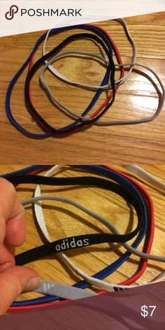 Adidas headband bundle 3 adidas headbands(gray, blank & white) and 2 others(red & blue)Never used. Smoke free home. Bundle to save more Adidas Accessories Hair Accessories