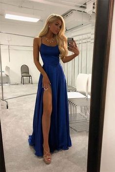 Spaghetti Straps Royal Blue Long Front Split Prom Dresses This dress could be custom made, there are no extra cost to do custom size and color. Split Prom Dresses, Royal Blue Prom Dresses, Pretty Prom Dresses, Sexy Dresses, Summer Dresses, Wedding Dresses, Dress Prom, Navy Blue Formal Dress, Marine Ball Dresses