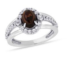 Viola, Oval-cut Garnet & White Topaz Ring in Sterling Silver