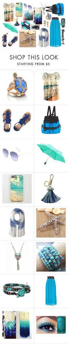 """""""Beach Set"""" by lovekitty411 ❤ liked on Polyvore featuring Kate Spade, Dorothy Perkins, Neiman Marcus, Kipling, FOSSIL, Echo Design, Ocean Pacific, AeraVida and Betsey Johnson"""