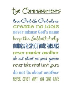 The 10 Commandments Print...said in today's language.