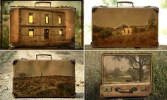 WONDERFUL  ITEMS Perfect for a trip down memory lane! The suitcases beautifully adorned with scenes of holidays past