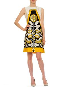 Vintage 1960s Mod Edano Navy, Yellow and Ivory Floral Dress