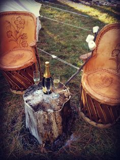 Glamping by Stout Tent #glamping #camp #smores #arizona #champagne #vintage #rustic #woods #fireside #belltent #stouttent