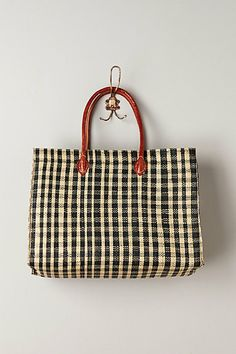 Gingham straw tote - Anthrologie
