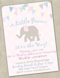 Elephant Birthday Invitation / Little by HauteChocolateFavors, $10.00