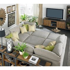 Dream couch -- Bassett Beckham Pit Sectional - love that this can be a couch or a bed, depending on your mood.