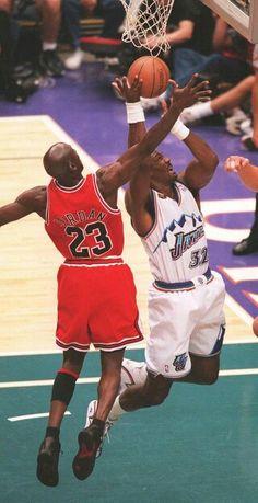 Michael Jordan and Karl Malone (Utah Jazz)