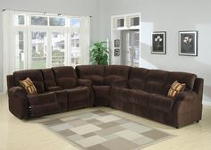 3 pc Tracey chocolate plush microfiber upholstered sectional sofa with recliners on the ends and Queen sofa sleeper - Sears