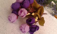 Flor Artificial Rosa e Roxo