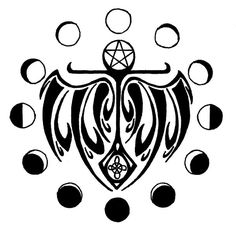 Pagan Symbol And Moon Phases Tattoo Designs
