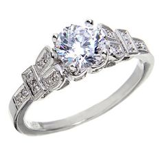 Beverly K Antique Style Diamond Engagement Ring
