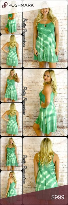 Green White Tie Dyed Crochet Lace Trim Slip Dress Coming Soon Pretty Persuasions Dresses