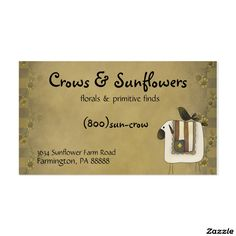 Crows, Sunflowers & Sheep Primitive Business Card