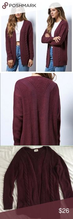 NWOT LA Hearts by PacSun cardigan. XS/S. NWOT LA Hearts by PacSun thick knit open cardigan. Size XS/Small. Beautiful maroon color.  Excellent quality sweater! Thick, warm and cozy.  I absolutely LOVE this item!  In excellent condition! Only worn once. The low price is a wonderful deal for this amazing item!  NO TRADES. PRICE IS FIRM. LA Hearts Sweaters Cardigans