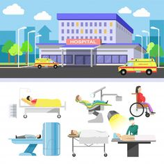 Hospital building and medical patients icons vector flat set Premium Vector Eps Vector, Vector Free, Building Illustration, Vector Photo, Infographic, Medical, Flat, Woman, Badges