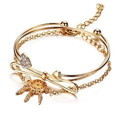Elegant Cuff Bracelets Chain Dream Net Bowknot Crystal Heart Fashion Multilayer Bracelet for Women , Fashion Bracelets, Jewelry Bracelets, Bangles, Lotion, Georgia, Led Stripes, Heart Bracelet, Bracelet Sizes, Women Jewelry
