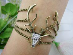 BraceletDeer head copper chain bracelet Deer head by WearingBEAUTY, $6.99
