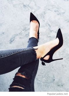 Black high heels and jeans