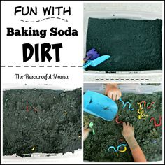 """This is a great sensory bin.  My kids had so much fun playing with this baking soda """"dirt""""."""