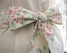 Rosy pink and ivory cream floral wedding bridal bridesmaid sash, vintage floral cotton, 83 seamless inches