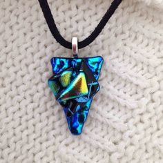 EP 287 Blue Triangle Handmade Glass Pendant - with Emerald Lime Turquoise Gold Dichroic Glass - necklace - Horsham - UK by FiredCreationsGlass on Etsy