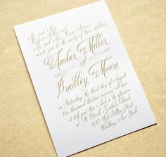 Gold Wedding Invitations, Gold Calligraphy Wedding Invitations by Whimsy B. Paperie, $5.25
