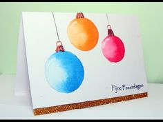 I've made this card for the CAS colours and Sketches challenge I've used Talens ecoline, a vibrant, sheer, and liquid watercolour m. Christmas Sketch, Watercolor Christmas Cards, Christmas Cards To Make, Watercolor Cards, Christmas Baubles, Xmas Cards, Christmas Art, Diy Cards, Beginning Watercolor