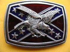 Southern Rebel CSA Stars Flag Eagle Belt Belts Buckle Buckles