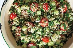 Quinoa Tabbouleh I think somebody made this for a party I went to. It was so freaking good I tried to make a version of it, but was way, way off. Marking for later.