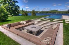 Sunken Patio, Sunken Fire Pits, Concrete Fire Pits, Concrete Pavers, Large Backyard Landscaping, Swimming Pool Landscaping, Backyard Seating, Swimming Pools, Landscaping Ideas