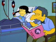 Moe Szyslak ofThe Simpsons readingMy Friend Flicka by Mary O'Hara