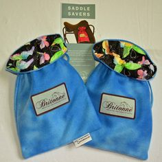 Summer Sky Saddle Savers with butterfly printed fabric lining
