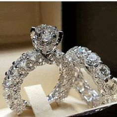 Ailend accepts custom jewelry crystal ring set European and American inlaid rhinestone fashion pair ring female party gift - Jewelry Stores NYC Engagement Wedding Ring Sets, Diamond Wedding Rings, Bridal Rings, Wedding Set, Engagement Jewelry, Solitaire Rings, Trendy Wedding, Wedding White, Band Rings