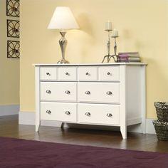 Sauder Shoal Creek Dresser Double 6 Drawer in Soft White Finish #Sauder
