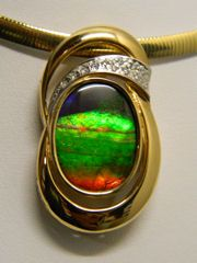 Canadian Ammolite Pendant - 14K Yellow Gold Diamonds with Omega Chain
