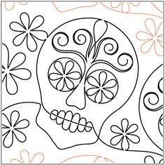 Sugar Skulls - Pantograph by Urban Elementz Longarm Quilting, Free Motion Quilting, Machine Quilting, Quilting Templates, Quilting Designs, Quilt Patterns, Quilting Ideas, Sugar Skull Art, Sugar Skulls
