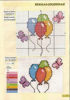 Ballons Baby Boy Knitting Patterns, Baby Cross Stitch Patterns, Cross Stitch For Kids, Mini Cross Stitch, Cross Stitch Cards, Cross Stitch Alphabet, Cross Stitch Designs, Cross Stitching, Cross Stitch Embroidery
