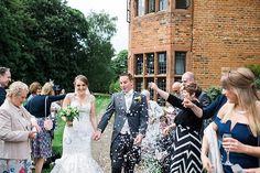 Confetti fun at Woodhall Manor, Suffolk.