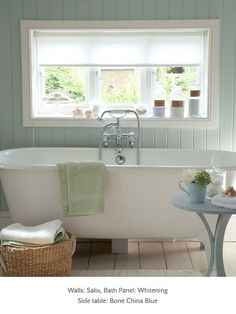 Painted bathroom in Little Greene paint colours - 'Salix', 'Whitening' and 'Bone China Blue'