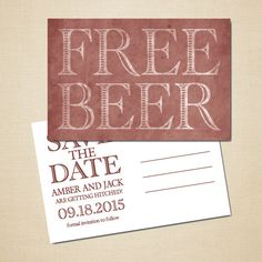 Free Beer Save The Date Cards Funny Kraft Rustic Savethedate Cards - Funny save the date templates free