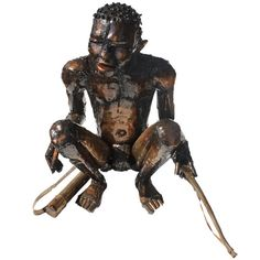 Bushman sitting with bow Welding Machine, Steel Sculpture, Light Oak, Origins, Sculptures, Bow, Metal, Arch, Longbow