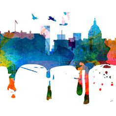 Washington Dc Skyline Watercolor Washington Dc Map Washington Dc Art... ($39) ❤ liked on Polyvore featuring home, home decor, wall art, backgrounds, home & living, home décor, murals, red, wall decals & murals and wall décor