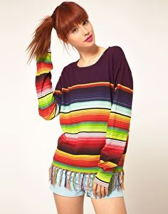 House Of Holland Cotton Stripe Jumper With Tassles  £195.00  Stripe jumper by House of Holland. Crafted in a lightweight cotton knit with a Mexican stripe design. Featuring a round neckline with a bound ribbed edge, long sleeves styling with dropped shoulders and fitted cuffs, and a contrast tassel trim hemline.