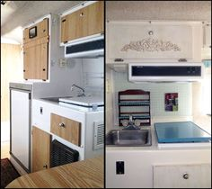 Before & After Pictures of Kitchen in Mrs. Padilly's Casita Trailer Makeover