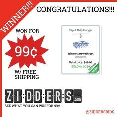 #Congratulations arewethryet for winning this Clip & Dry Hanger for only 99¢! Want to #win your own? Check out www.zidders.com #zidderswinners  See all of our items for 99¢ w/ #FREE shipping!
