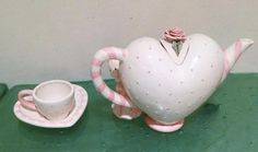 Know a girl who loves pink AND loves tea parties! Mudpie Vtg Princess Child's Tea Party Set Peekaboo Teapot Polka Dot Pink Heart #Mudpie