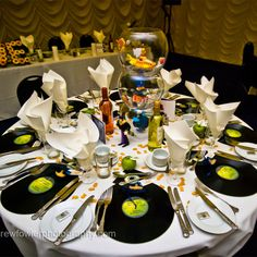 Beatles wedding theme.  Vinyls as charger plates, fucking brilliant!