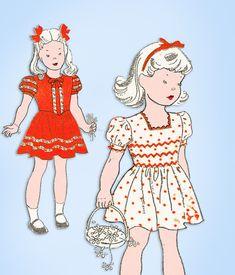 1940s Original Vintage New York Sewing Pattern 1841 Toddler Girls Dress Size 2 #NewYork #DressPattern
