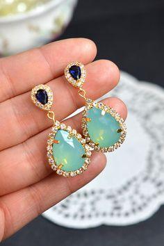 Mint Bridesmaid EarringsMint Green EarringsMint by thefabwedding2